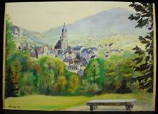 Greiner 1945 aquarelle vue de Baden Baden Allemagne imprimeries strasbourgeoises