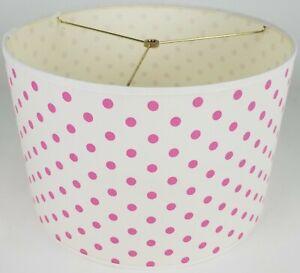 "NEW Drum Lamp Shade 15"" Dia 10"" H Contemporary Pink Polkadots Fabric"