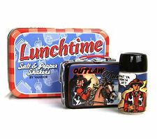 Dude And Outlaw Cowboy Western Figural Salt Pepper Shakers Lunchtime Tin Vandor