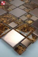piastrelle in vetro a mosaico acciaio INOX MARINO marrone nero tinto