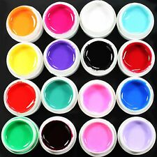 16 Pcs Mix Solid Color Pure Nail Art UV Builder Gel Kit for Acrylic False Tip