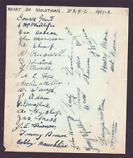 HEART OF MIDLOTHIAN 1937-1938 EXTREMELY RARE ORIG HAND SIGNED PAGE WITH 27 SIGS