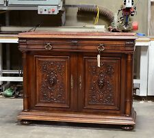 1111035-2 : Antique French Marble Top Renaissance Console Sideboard Cabinet