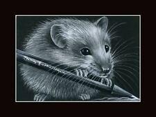 Rat ACEO Print Little Artist by I Garmashova