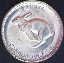 1967 Canada Centennial 5 Cents Elizabeth II Rabbit Nickel Five Cent Coin