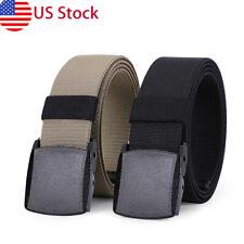 US STOCK Mens Elastic Stretch Web Belt YKK Plastic Buckle Casual Jeans Golf Belt