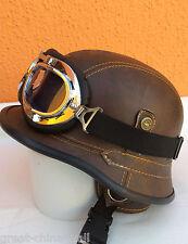 Chopper Biker Helm Gr.L BRAUN Logo BULZEYE Wehrmacht Motorrad mit Brille