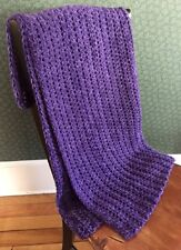 CROCHET BULKY handmade afghan blanket throw adult toddler acrylic wool purple