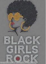 Afro Girls Rock #2 Rhinestone Iron on T Shirt Transfer   HBDV
