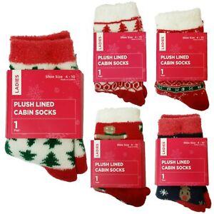 Ladies' Christmas Holiday Plush Lined Cabin Socks