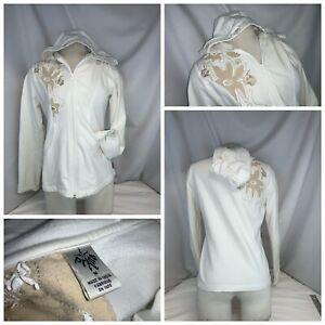 Prana Hoodie Yoga Jacket M Women Ivory Cotton Zip Tan Floral Mint YGI K0-123
