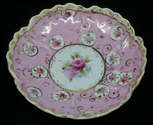 OLD JAPANESE? HAND PAINTED PORCELAIN SERVING BOWL, PINK WITH FLOWERS, GOLD TRIM
