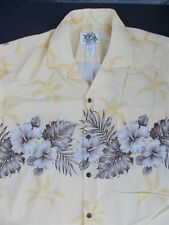 KY's Hibiscus and Palm Trees Aloha Camp Shirt Made in Hawaii Mens XL