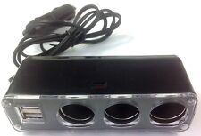 Coche 12v extensión de toma de corriente aux CIG cigarrillo Plug Adaptador USB de 3 Socket