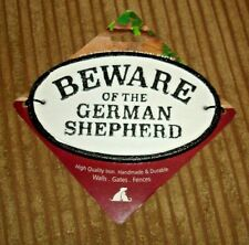 Beware of the German Shepherd Cast Iron Oval Sign NEW