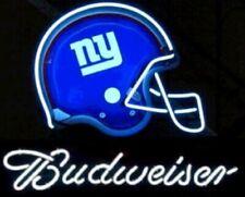 "Neon Light Sign 24""x20"" New York Giants Budweiser Beer Glass Decor Bar Lamp"