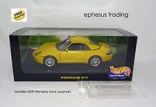 Hot Wheels Porsche 911 996 Carrera C2 Cabriolet Hardtop 3.4l Yellow w/Gray 1/18!