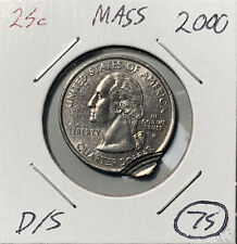 2000-P Massachusetts 25c Double Struck Mint ERROR