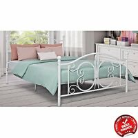metal bed frame off white antique iron full queen king sizes headboard bedroom. Black Bedroom Furniture Sets. Home Design Ideas