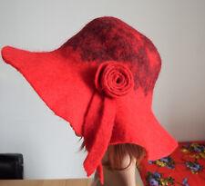 Chapeau Capeline en Laine Bouillie Rouge Taille M (57 cm)