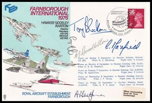 RAF AD24d Farnborough International 1976 Hawker Aviation Cover Signed 5x Pilots