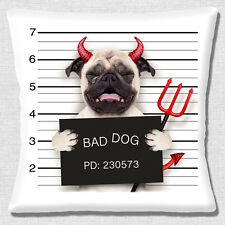 Funny Fawn Pug Dog Cushion Cover 16x16 inch 40cm Bad Dog Devil Horns Crying