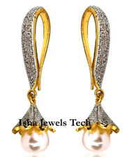 & Pearl 925 Sterling Silver Jewelry Victorian Earrings Natural Rose Cut Diamond
