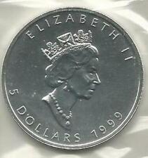1999 1 oz. Silver Canadian Maple Leaf, RCM Sealed, Silver Bullion