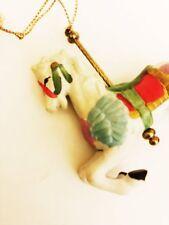 Carousel Horse Christmas Tree Ornament Porcelain Holiday Figurine Vintage 1990s