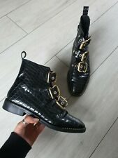 TOPSHOP ALFIE CROC TEXTURE LEATHER BUCKLE STUD CHUNKY ANKLE BOOTS SIZE 8 RRP £92