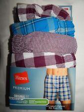 Hanes Boxers S Plaid Check 4 Pair Premium Original Fit Red White Blue Multi Mens