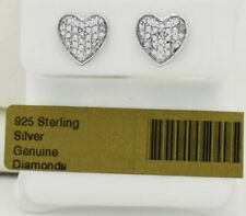 GENUINE DIAMONDS HEART STUD EARRINGS .925 Sterling Silver ** NEW WITH TAG **
