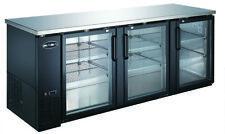 """Saba 90"""" Black Back Bar Refrigerator & Beverage Cooler, 3 Glass Doors, 27"""" Depth"""