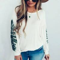 Womens Casual Long Sleeve T Shirt Ladies Loose Blouse Crew Neck Tops Plus Size
