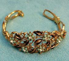 "Vintage Retro Rhinestone Bracelet Original SIGNED CORO 6.5"" Gold Tone"