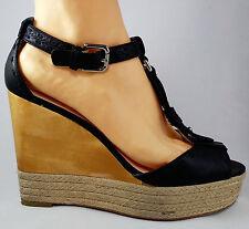 COACH wedges black leather Size 10 B wood hemp silver hardware heels shoes open