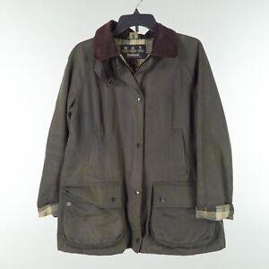 Barbour Original Tartan Mens Size 10 Brown Waxed Cotton Jacket