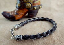 Sensational French braid horsehair bracelet Stunning Gray/black Real horsehair