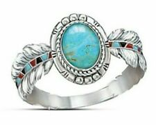 NEW 925 sterling silver Oval feather turquoise Ring Size 8