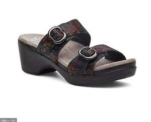 NWB Dansko Sophie Stained Glass Comfort Sandal Black with Specs of Color Size 38