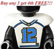 ☀️NEW White Minifig Hockey Body Armor w/ Football Jersey and Number 12 Pattern