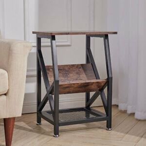 Industrial Side Table Bedside Shelves Bookcase for Hallway Bedroom Living Room