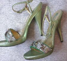 € 263 Blumarine Genuine Leather High Heels Green Evening Sandals 38 Sequined