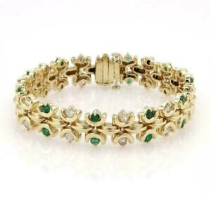 8.50Ct Estate 14K Yellow Gold Over Green Emerald & Diamond Tennis Bracelet