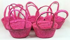 Lot of (5) Small Pink Soft Handled Hand Baskets - New!