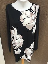 New Soldout Chico's Black Ecru Stamped Blooms Floral Tunic Top Sz 3 XL 16 18 NWT