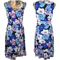 Modcloth Liza Luxe Floral Ruffle Dress V-neck Waist Sash Size 2X Flounce