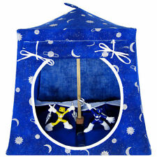 Royal blue, sparkling star & moon print Toy Play Tent, 2 Sleeping Bags, handmade