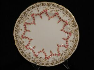 "Cauldon Rose Swag/Garland w/Gold Scroll Trim 10"" Dinner Plate ~ Antique"