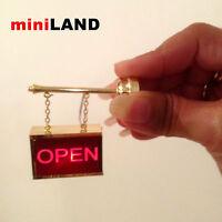 FLASHING OPEN Sign LED LAMP Dollhouse miniature light battery on/off 1:12 brass